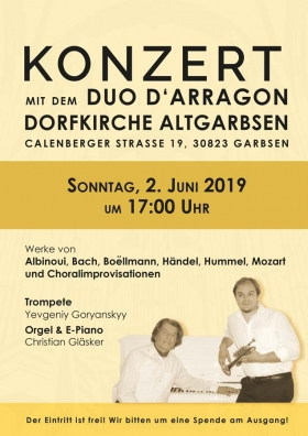 Konzert mit dem Duo D'Arragon in Altgarbsen am 2. Juni 2019