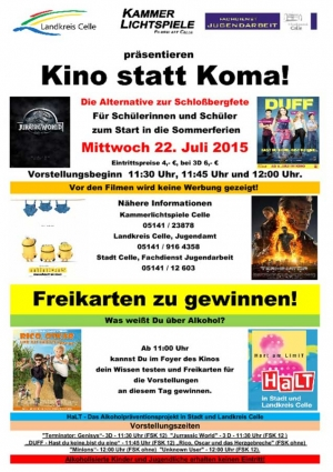 Kino als Alternative zur Schlossbergfete in Celle am 22. Juli2015