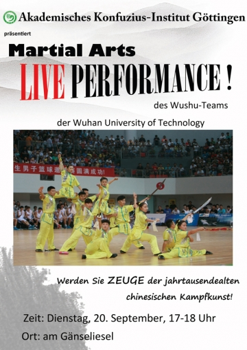 Martial-Arts Live Performance des Wushu-Teams am 20.September 2016